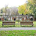 Benches By The Cemetery by Valentino Visentini