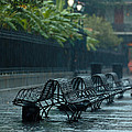 Benches In The Rain by Susie Hoffpauir