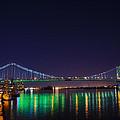 Benjamin Franklin Bridge At Night From Penn's Landing by Bill Cannon