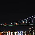 Benjamin Franklin Bridge At Night Panarama by Bill Cannon
