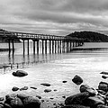 Bennet Bay Pier Black And White by John Greaves