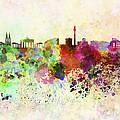 Berlin Skyline In Watercolor Background by Pablo Romero
