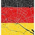 Berlin Street Map - Berlin Germany Road Map Art On German Flag Background by Jurq Studio