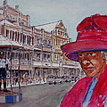 Bermuda Lady In Red And Cop by Frank Hunter