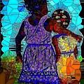 Best Friends Mosaic by Saundra Myles