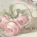 Best Wishes Vintage Roses Card  by Sandra Foster