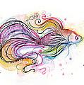 Betta Fish Watercolor by Olga Shvartsur
