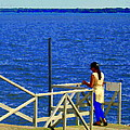 Between Sky And Sea Lachine Canal Viewing Pier Picturesque Water Scenes Montreal Art Carole Spandau by Carole Spandau