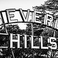Beverly Hills Sign In Black And White by Paul Velgos