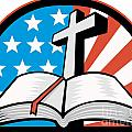 Bible With Cross American Stars Stripes by Aloysius Patrimonio