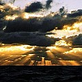 Crepuscular Biblical Rays At Dusk In The Gulf Of Mexico by Michael Hoard