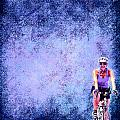 Bicycle Rider On Blue Background by Cassie Peters