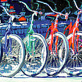 Bicycles In A Row San Diego by RD Riccoboni