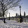 Big Ben Westminster Abbey And Houses Of Parliament In The Snow by Robert Hallmann
