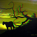 Big Cat Silhouette -  Use Red-cyan 3d Glasses by Brian Wallace