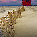 Big Red Lighthouse With Sand Fence At Ottawa Beach by Randall Nyhof