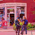 Bikes Backpacks And Cold Beer At The Local Corner Depanneur Montreal Summer City Scene  by Carole Spandau
