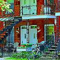 Bikes Balconies Brick Houses Flower Boxes Verdun Duplex Stairs Summer Scenes Carole Spandau by Carole Spandau
