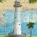 Biloxi Lighthouse Ms Nautical Chart Art Cathy Peek by Cathy Peek