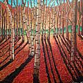 Birch Trees At Dusk by Nancy McNamer