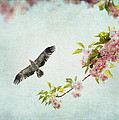 Bird And Pink And Green Flowering Branch On Blue by Brooke T Ryan