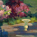 Bird Bath And Rhodies by Diane McClary