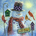 Bird Lover Snowman by Vickie Wade