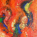 Bird Of Paradise Orange Red Modern Abstract By Chakramoon by Belinda Capol