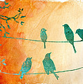 Birds Gathered On Wires-5 by Jean Plout