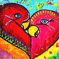 Birds In Love Pop Art by Julia Fine Art And Photography