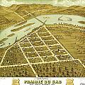 Birdseye View Of Prairie Du Sac Wisconsin 1870 by MotionAge Designs