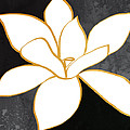 Black And Gold Magnolia- Floral Art by Linda Woods
