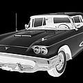 Black And White 1958  Ford Thunderbird  Car Pop Art by Keith Webber Jr