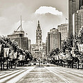 Black And White Benjamin Franklin Parkway by Bill Cannon