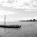 Black And White Boat by Melinda Baugh