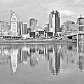 Black And White Cincinnati Panoramic by Frozen in Time Fine Art Photography