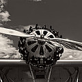 Black And White Close-up Of Airplane Engine by Keith Webber Jr