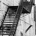 Black And White Fire Escape Usa Near Infrared by Sally Rockefeller