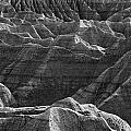 Black And White Image Of The Badlands by Robert Postma