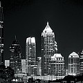 Black And White Night In Atlanta by Frozen in Time Fine Art Photography
