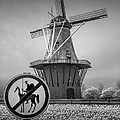 Black And White No Tilting At Windmills by Randall Nyhof