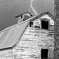 Black And White Old Barn Lightning Strikes by James BO  Insogna