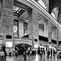 Black And White Pano Of Grand Central Station - Nyc by David Smith