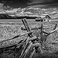 Black And White Photo Of A Wood Fence At The John Moulton Farm by Randall Nyhof