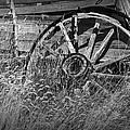 Black And White Photo Of An Old Broken Wheel Of A Farm Wagon by Randall Nyhof