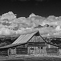 Black And White Photo Of The T.a. Moulton Barn In The Grand Tetons by Randall Nyhof