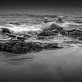 Black And White Photograph Of Waves Crashing On The Shore At Sand Beach by Randall Nyhof