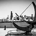 Black And White Picture Of Adler Planetarium Sundial by Paul Velgos