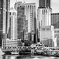 Black And White Picture Of Chicago At Lake Street Bridge by Paul Velgos