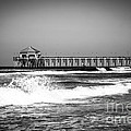 Black And White Picture Of Huntington Beach Pier by Paul Velgos